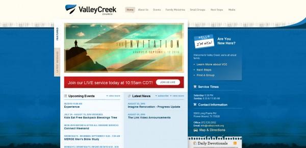http://valleycreek.org - примеры красивых сайтов церквей
